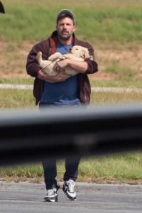 Ben Affleck arrives in Atlanta with an adorable bundle of fur for the kids!