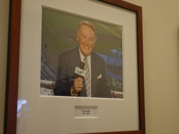 Vin Scully in the Dodgers press box