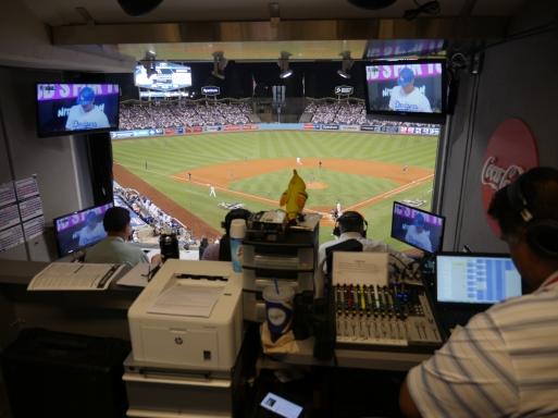 Spanish-language Dodger radio booth